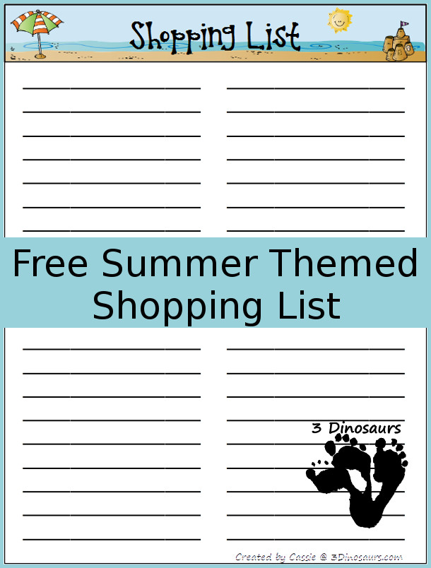 Monthly Goals June 2015 with Summer Shopping List Printable 3 - shopping lists