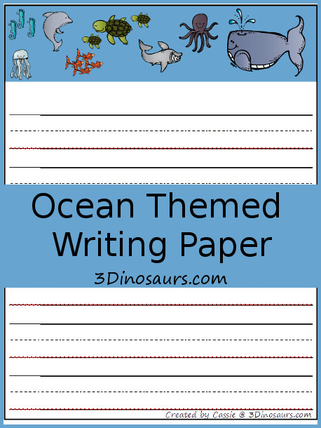 Free Ocean Themed Writing Paper 3 Dinosaurs - Free Writing Paper Template