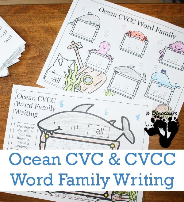 Ocean Themed CVC  CVCC Word Family Writing 3 Dinosaurs