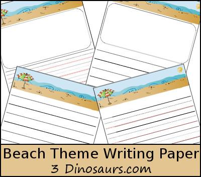 3 Dinosaurs - Beach Themed Writing Paper