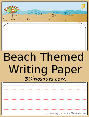 Free Beach Themed Writing Paper 3 Dinosaurs