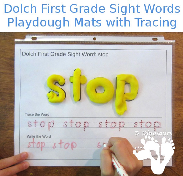 Free Dolch First Grade Sight Words Playdough Mats with Tracing 3
