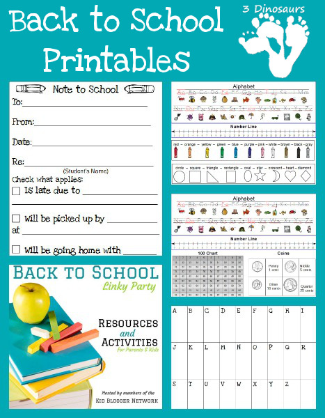 Back to School Printables 3 Dinosaurs