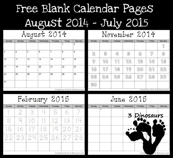 Free 2014-2015 Blank Calendar Printables 3 Dinosaurs