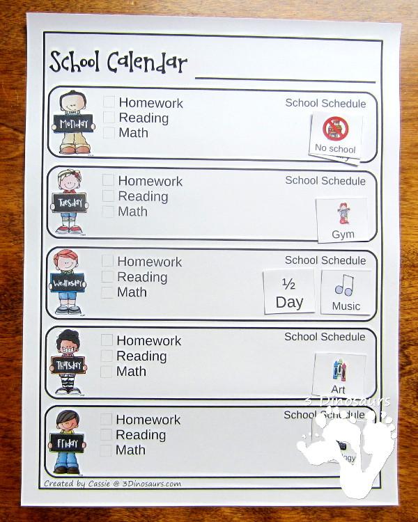 Free Weekly School Calendar 3 Dinosaurs - Free Weekly Calendar