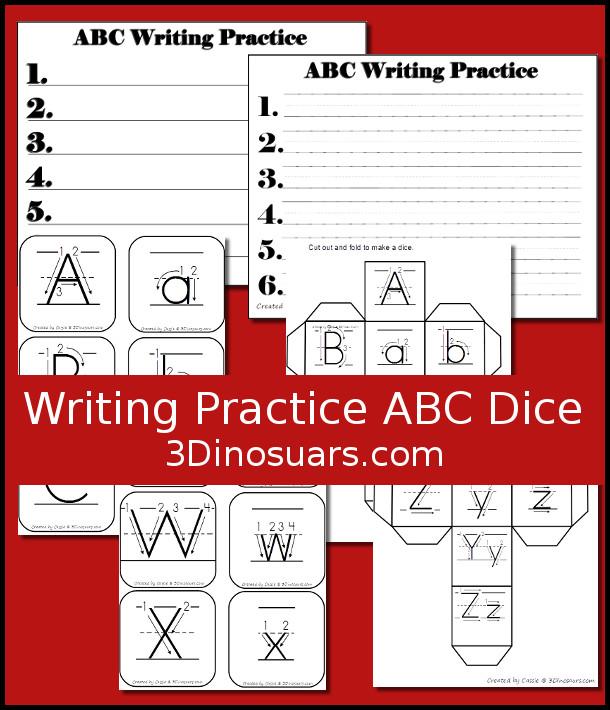 Writing Practice ABC Dice 3 Dinosaurs - practice alphabet writing