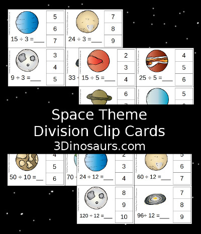 3 Dinosaurs - Space Division Clip Cards