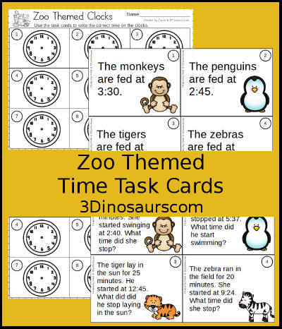 3 Dinosaurs - Zoo Clock Task Cards