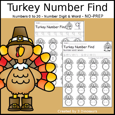 No Prep Turkey Themed Finds ABCs, Numbers  Shapes 3 Dinosaurs