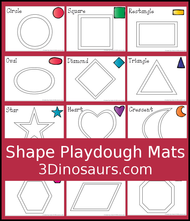 Hands-on Learning With Shape Playdough Mats 3 Dinosaurs