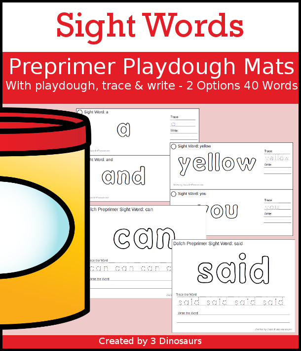 Free Dolch Preprimer Sight Words Playdough Mats with Tracing 3