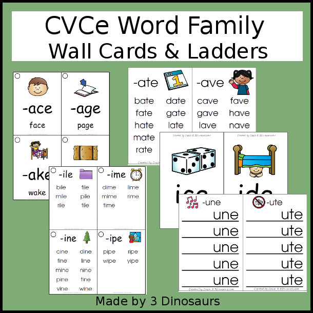 Free CVCE Word Family Ladders 3 Dinosaurs