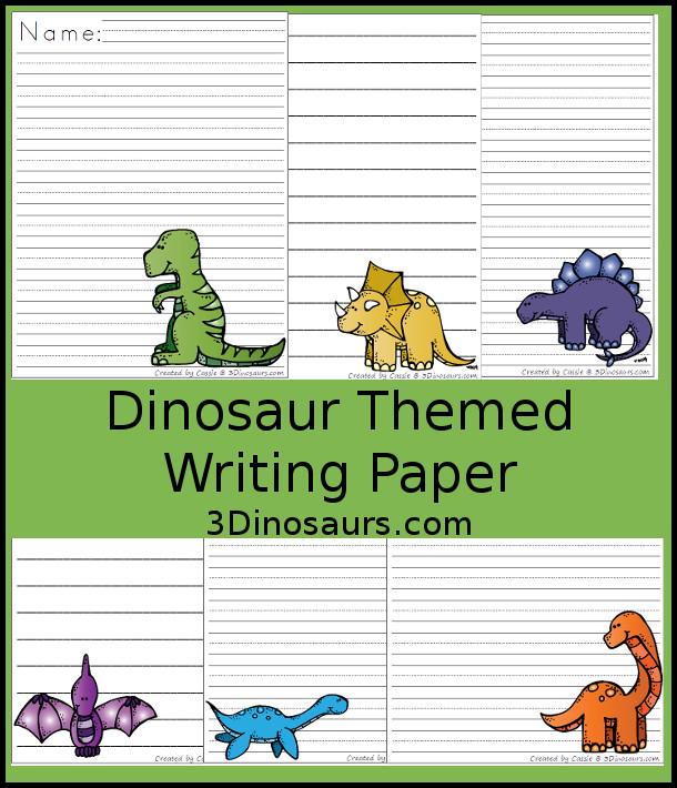 Roaring Dinosaur Themed Writing Paper For Kids 3 Dinosaurs