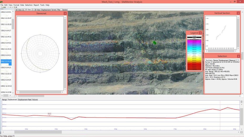 Typical Site Monitor Analysis output with the photograph as background, overlain by displacement map.
