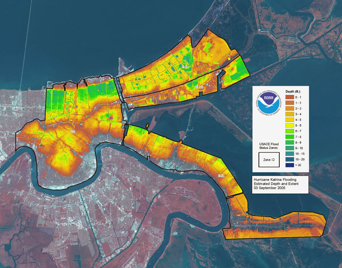 hurricane katrina flooding aerial map