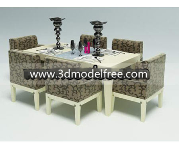 Simple Wooden Dining Table And Chairs Combination 3d Model