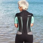 Sheila dons a wetsuit for some sea swimming