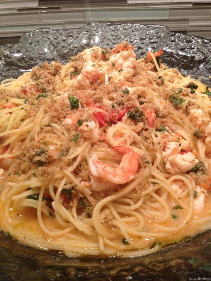 Pasta with Butterfly Shrimp, Scampi Style | 3 Italian Sisters