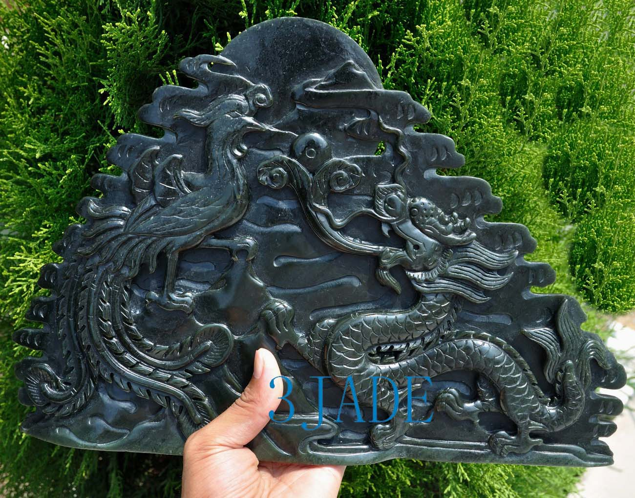 Natural Nephrite Jade Carving Sculpture Dragon Phoenix