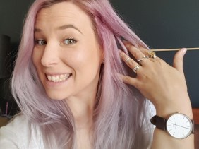 pink grey purple hair