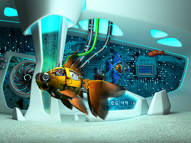 Animated Wallpapers For Pc Desktop Free Download Fish 3d Screensavers Cyberfish Sci Fi 3d Aquarium