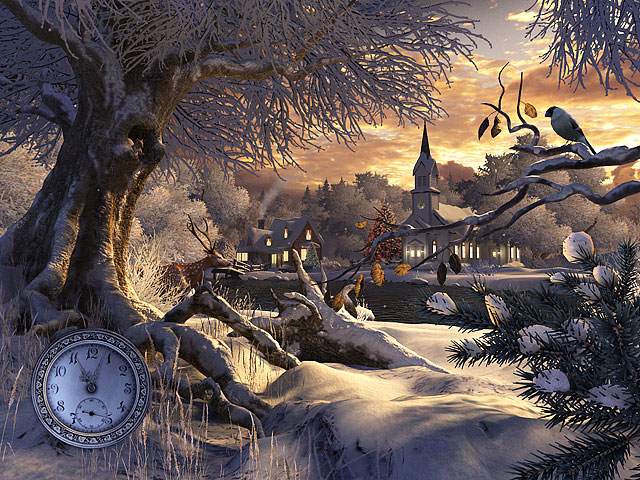 Holidays 3D Screensavers - Winter Wonderland - Winter scene nature