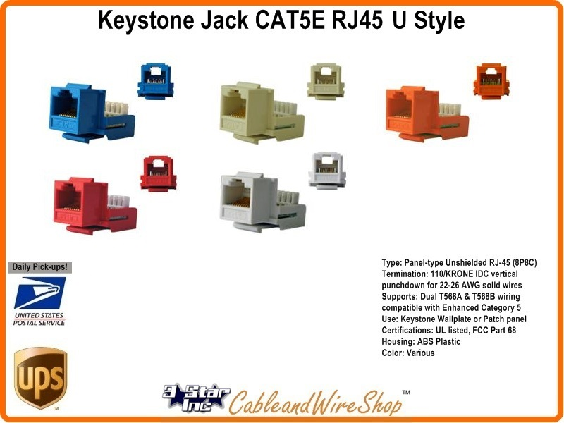 CAT5E /RJ45 Keystone Voice Data Jack Red H 3 Star Incorporated