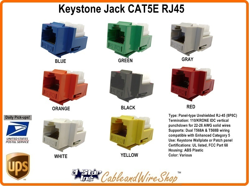 CAT5E /RJ45 Keystone Voice Data Jack Orange U 3 Star Incorporated