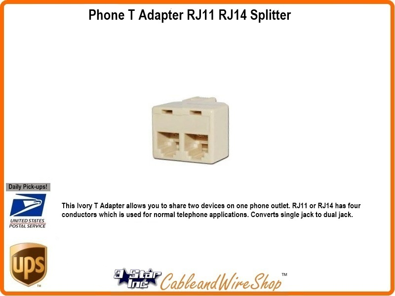Phone T Adapter RJ11 RJ14 Splitter 3 Star Incorporated