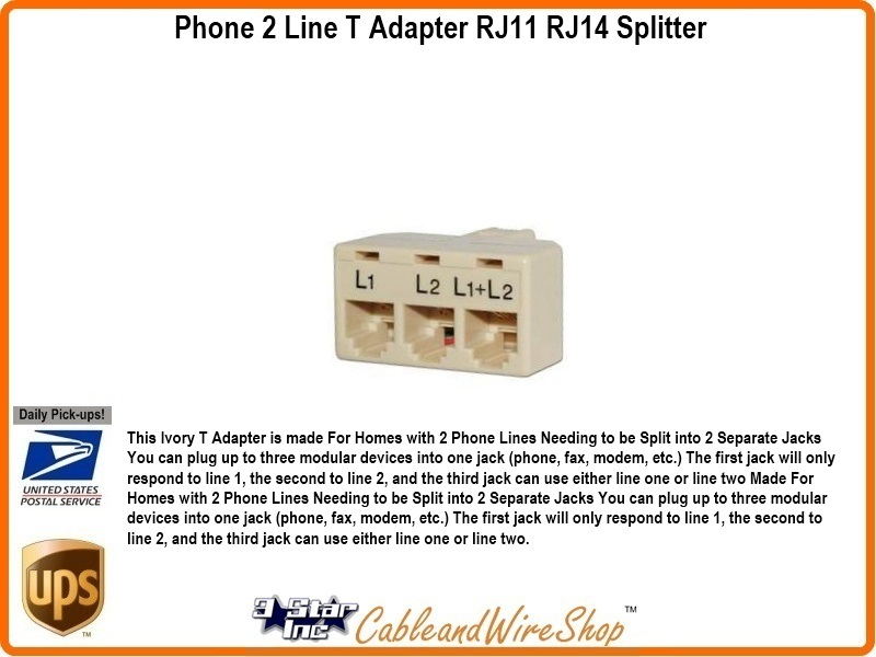 Phone 2 Line T Adapter RJ11 RJ14 Splitter 3 Star Incorporated