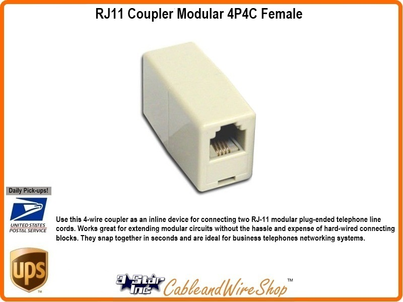 RJ11 Coupler Modular 4P4C Female 3 Star Incorporated