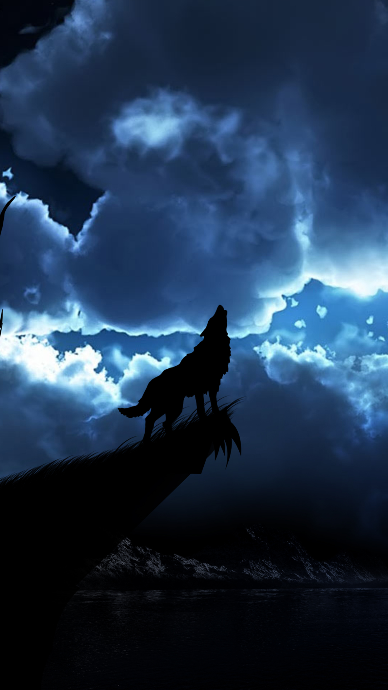 Silhouette Iphone Wallpaper Wolf Night Wallpaper For Iphone X 8 7 6 Free Download