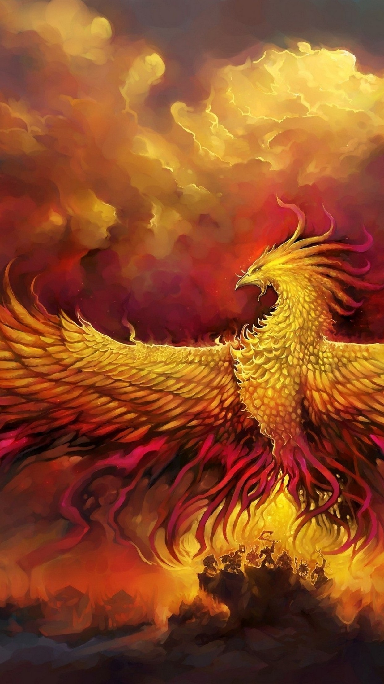 3d Wallpaper Parallax Free Phoenix Wings Wallpaper For Iphone X 8 7 6 Free