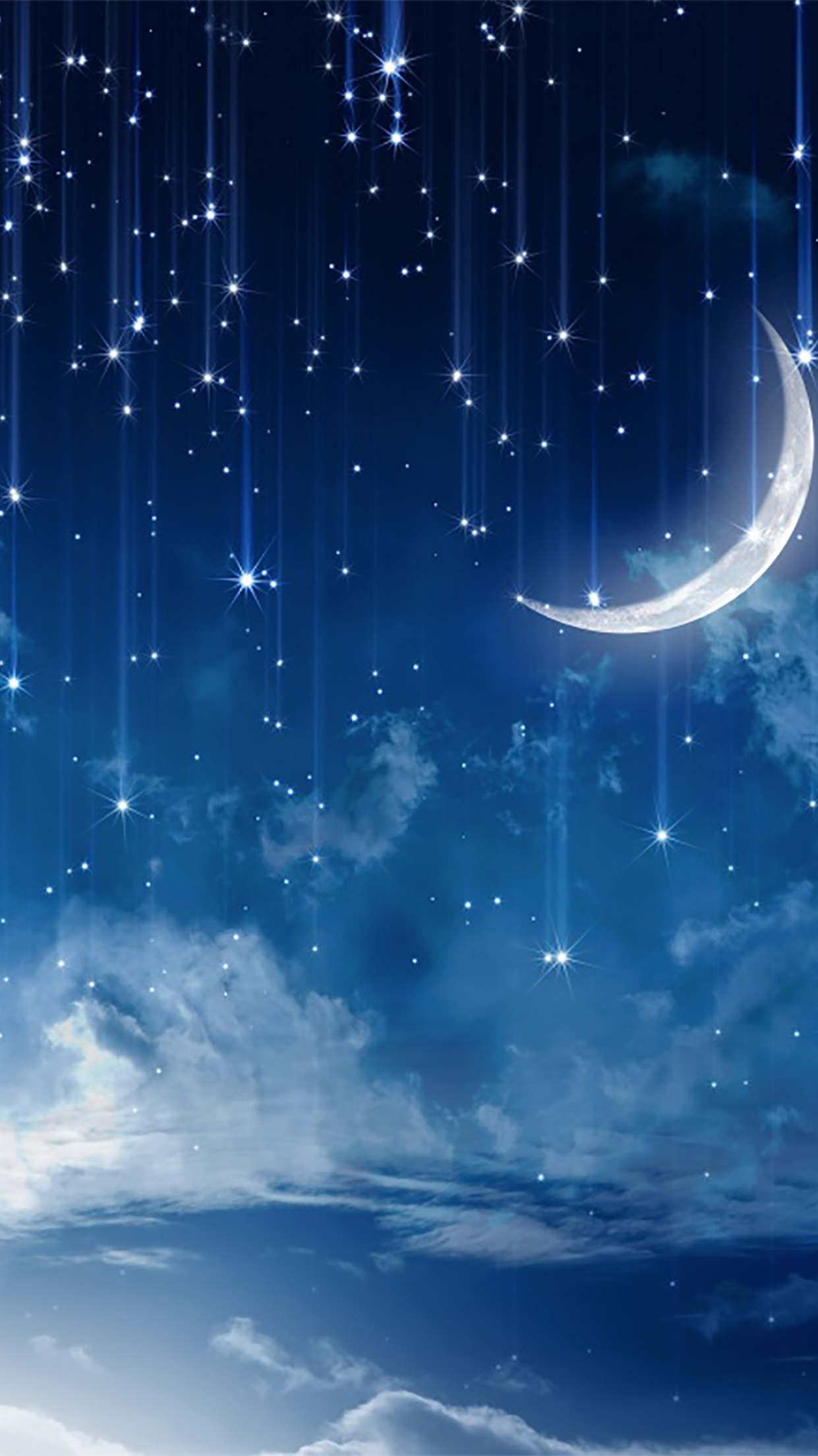Cute Cartoon Nature Wallpapers Sky Sky With Stars And Moon Wallpaper For Iphone X 8 7