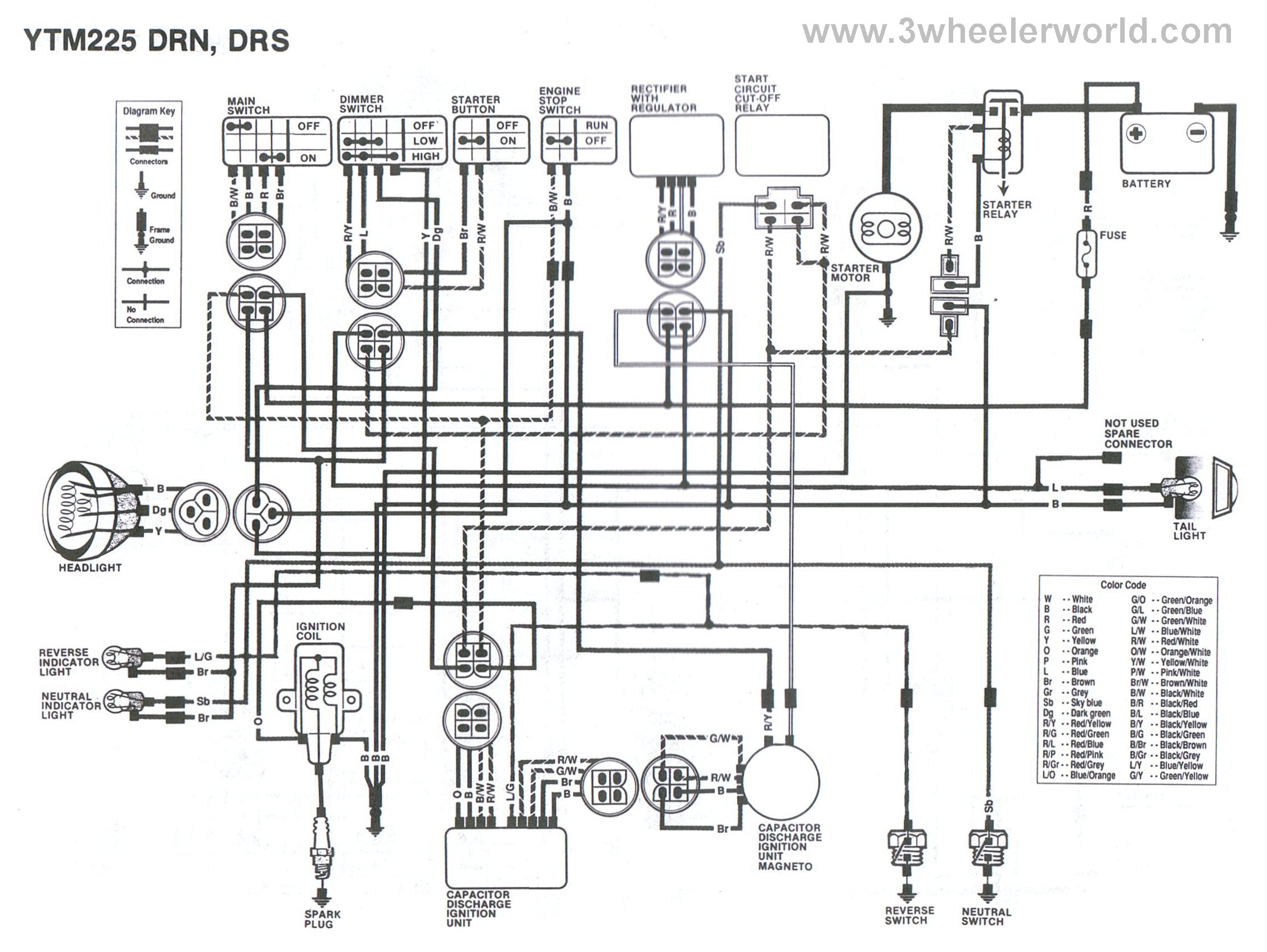 wiring diagram for yamaha ytm 225dx