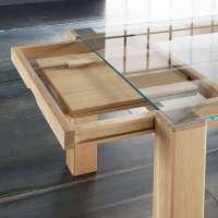 Table extensible design en verre et bois massif - Sidney ...