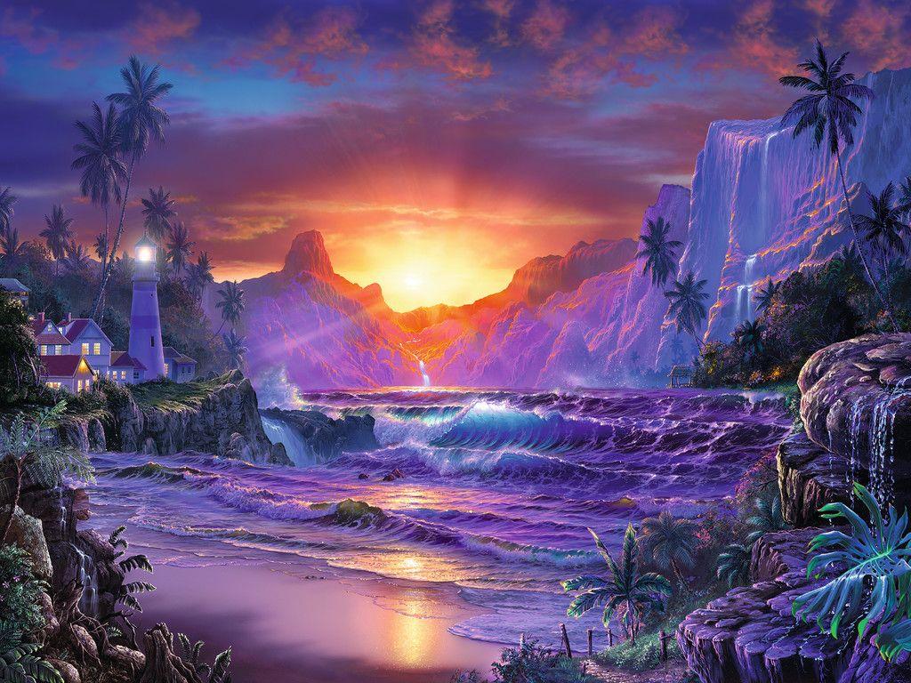 Beautiful Wallpapers 3d Animation Puzzle Lever De Soleil Au Paradis