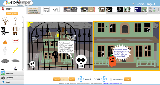 Storyjumper Children's Book Creator Interface