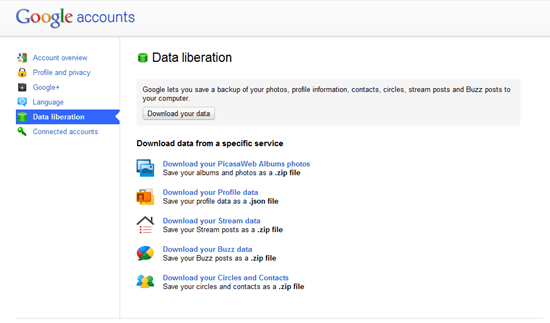 Google+ Data Liberation | Takeout | 40Tech