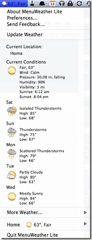 menu weather lite dropdown