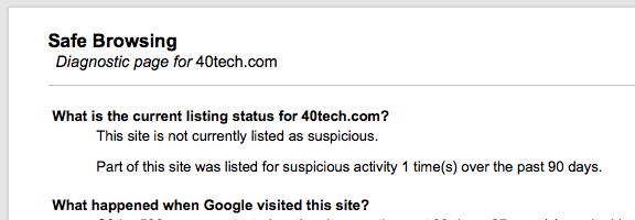 Google safe browsing diagnostic tool