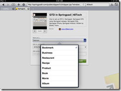 Selecting Post Type in Mobile Safari Web Clipper, Springpad | 40Tech
