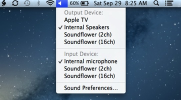 Choose mac audio input and output