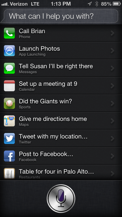 Siri commands