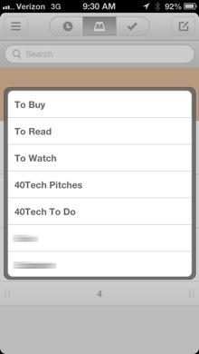Mailbox List menu