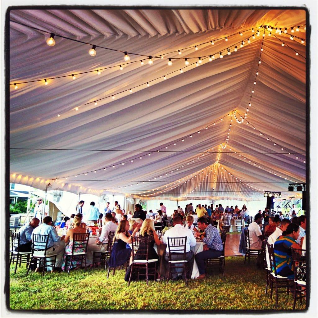 tents canopies wedding tent rentals Bistro Lights Black Strand Clear Bulb