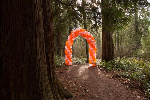 © 2013 Andy Arkley & Courtney Barnebey, Balloon Arch, Seward Park, mixed media. Photo courtesy of the artist.