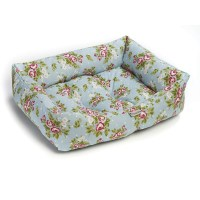 Chilli Dog Victoria Rose Aqua Floral Dog Bed | British ...