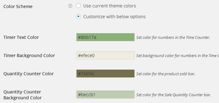 Set Countdown Box color scheme