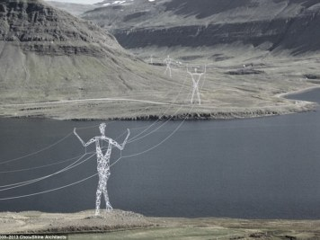 Remarkable beauty: These giant humanoid electricity pylons were inspired by the idea of brightening up Iceland's volcanic landscape